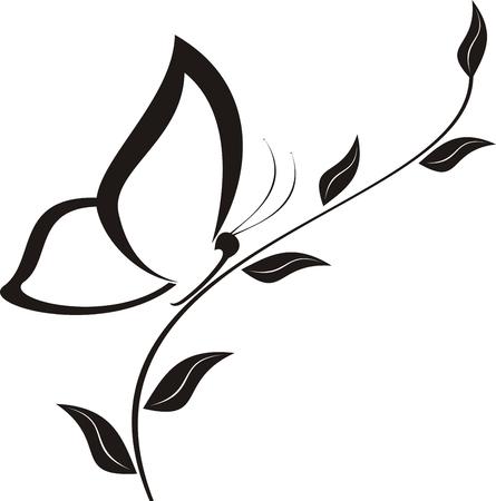 leafs: Vettore farfalla illustrazione - nero su sfondo bianco
