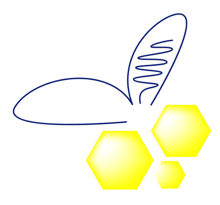 Abstract bee isolated on white background, vector illustration Иллюстрация