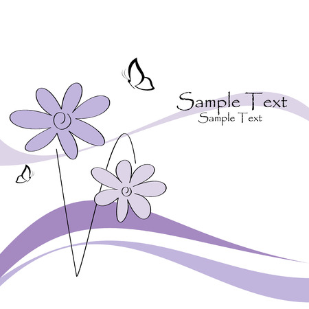 Floral card with butterflies, vector illustration Vector