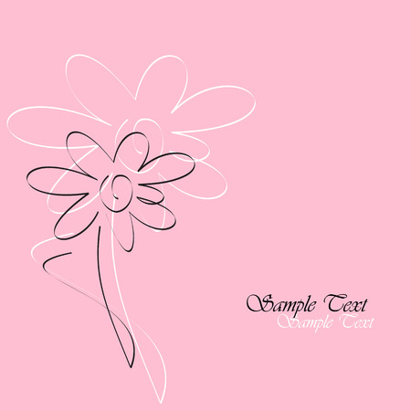 Greeting card with flower, vector illustration Vector