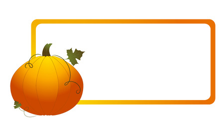 Frame with pumpkin isolated on white background, vector illustration Vector