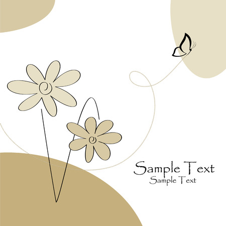 Greeting card with flower and butterfly, illustration Stock Vector - 5735953