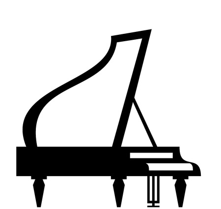 fortepian: Fortepian sylweta samodzielnie na białym tle Ilustracja
