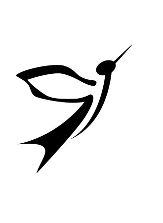 Abstract black bird isolated on white background, vector illustration Vector