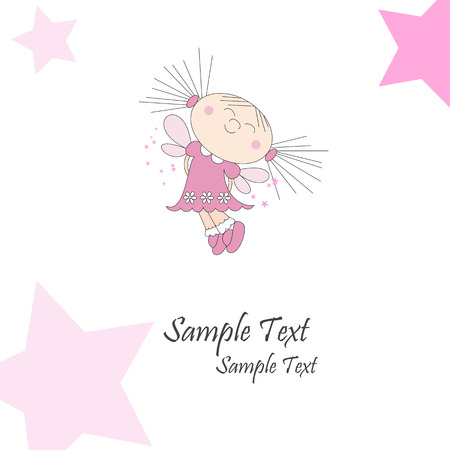 Greeting card with dreaming girl and pink stars, vector illustration Illustration