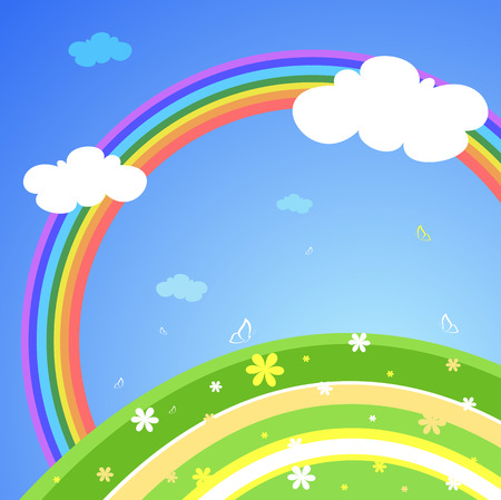 lanscape: Abstract lanscape with rainbow, vector illustration Illustration