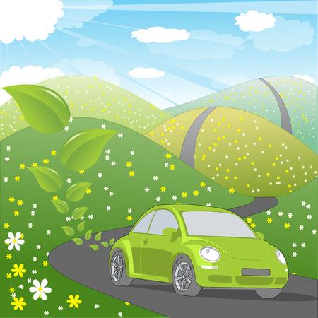 緑の輸送のイラスト: 生態にやさしい車の乗り物で光沢のある夏の風景