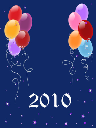 Greeting card 2010 with balloons, stars, vector illustration Vector