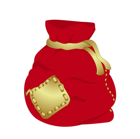 Red Christmas bag isolated on white background, vector illustration Vector