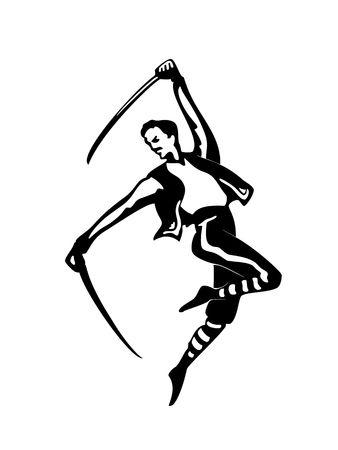 Sabre dancer isolated on white background, illustration Vector