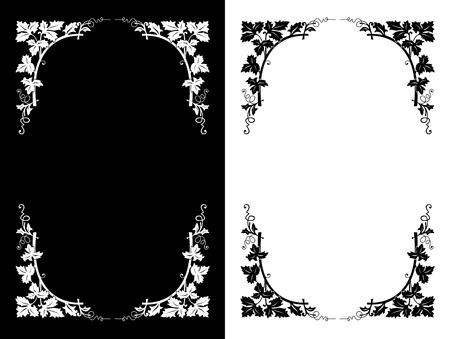 Black and white floral design backgrounds, illustration Vector