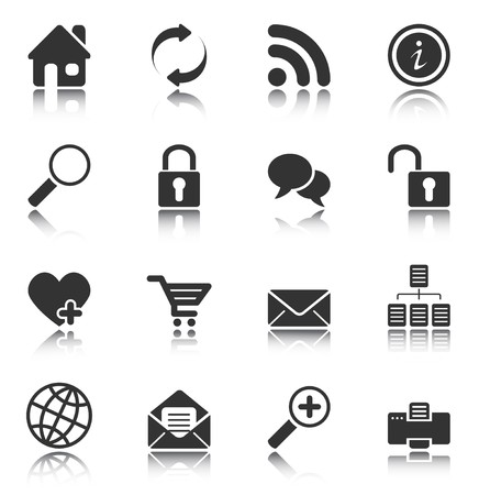 Web and Internet icons reflected on white background, isolated objects Stock Vector - 7235176