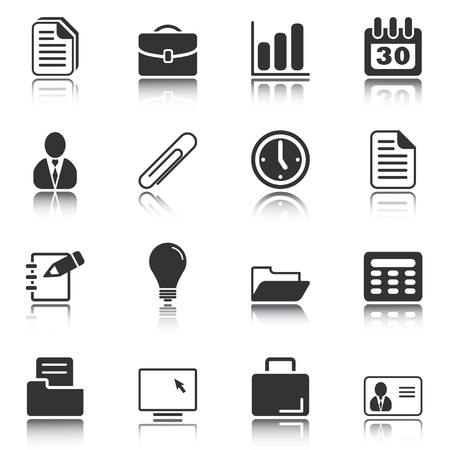 computer icon set: Web and Internet icons reflected on white background, isolated objects