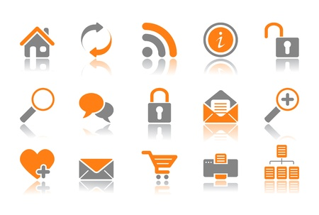 Color Web and Internet icons reflected on white background Vector