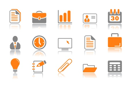 file: Color office and business icons reflected on white background Illustration