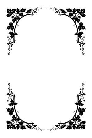accents: Vector floral borde blanco y negro, f�cil a repintadas
