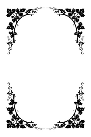 vector floral border black and white, easy to recolored