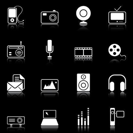 Iconos de medios de comunicación, reflejadas sobre fondo negro