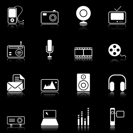 film set: Mass Media icons reflected on black background