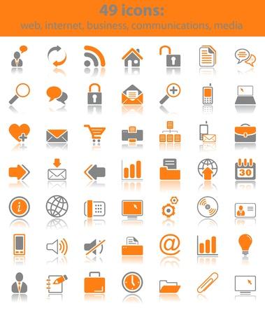 Ensemble de 49 icônes web, entreprises, médias et communication
