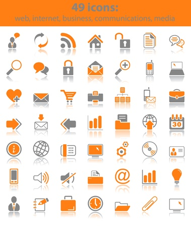Set of 49 web, business, media and communication icons Stock Vector - 10692502
