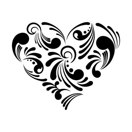 dessin noir et blanc: Vector illustration d'un beau coeur abstrait isolé sur fond blanc