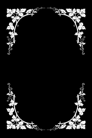 accent abstract: Floral border black and white, easy to recolored Illustration