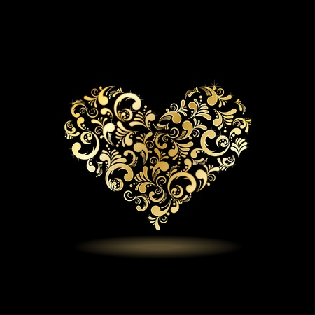 gold floral: Abstract floral heart shape, vector illustration  Love