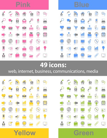 Set of 49 web icons in 4 different color variations Vector