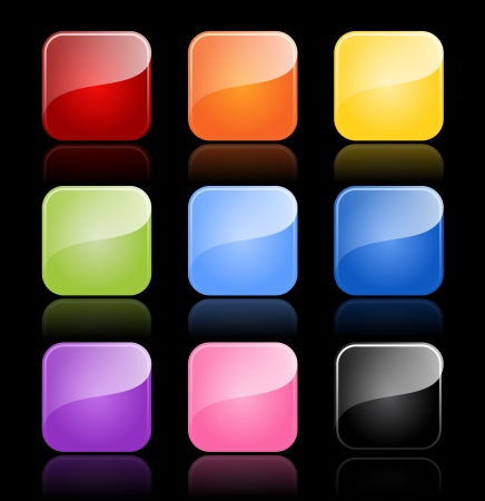 Glossy blank buttons in color variations with reflections, EPS 10