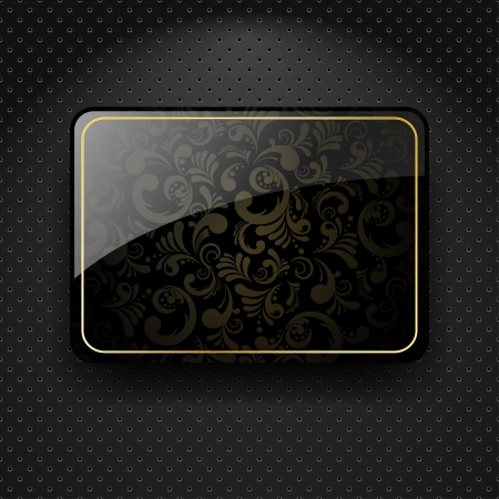 Abstract metallic background with black glass banner Vector