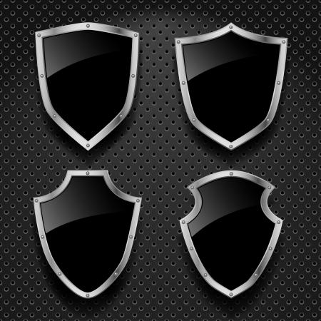 shiny shield:  set of black shields on metallic background Illustration