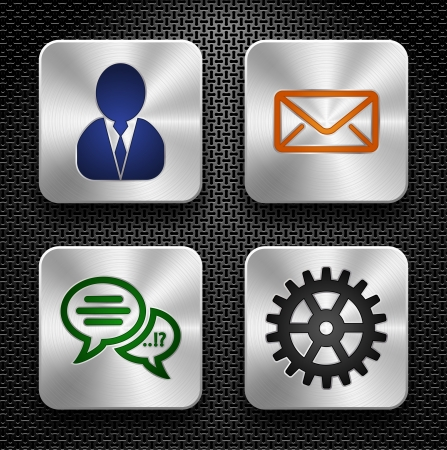 platinum: set of high-detailed apps icons over metallic texture
