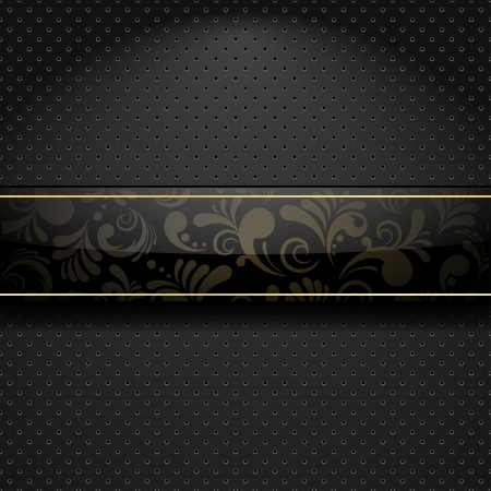 Abstract metallic background with glass floral banner Vector