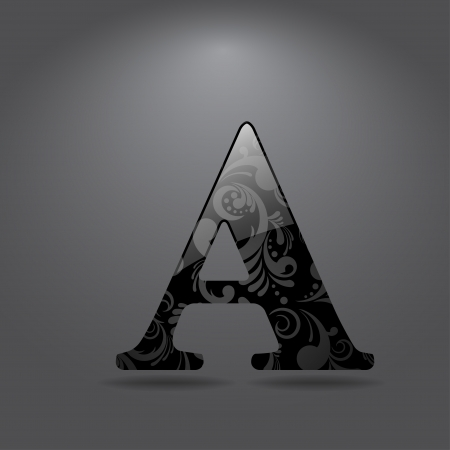 Glossy letter A  Vector illustration