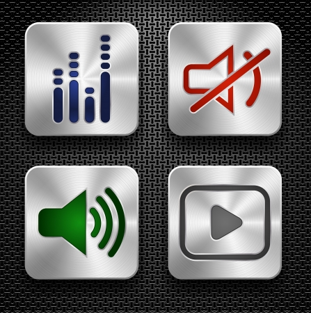 Set of steel audio web icons over metallic textured background. EPS 10. Vector illustration. Vector