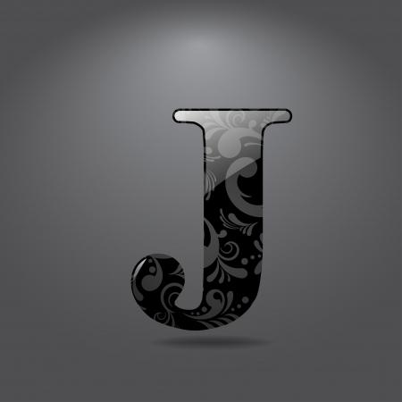 j: Glossy letter J  Vector illustration