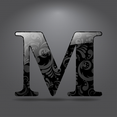 letter m: Glossy letter M  Vector illustration