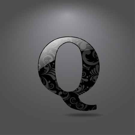 q: Glossy letter Q  Vector illustration
