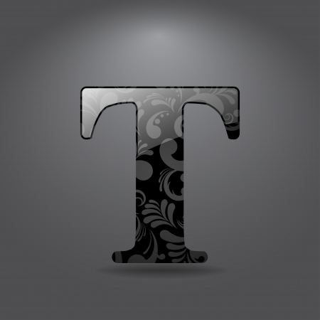 Glossy letter T  Vector illustration