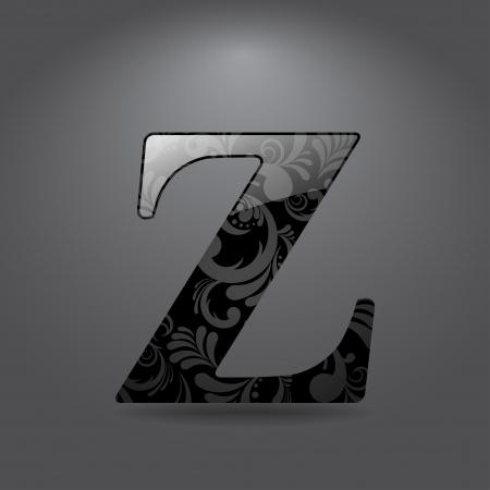 letter z: Glossy letter Z  Vector illustration