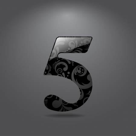 number five: Glossy digit 5 - symbol with floral ornate