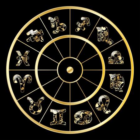 aries: Vector de oro c�rculo con los signos del zodiaco en fondo negro