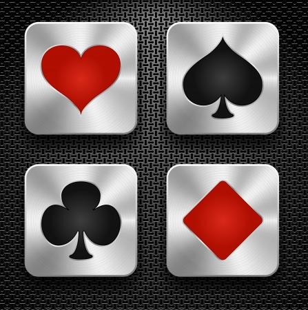 playing card symbols: Conjunto de elementos de casino - jugar s�mbolos de la tarjeta, iconos de acero sobre fondo met�lico, vector Vectores