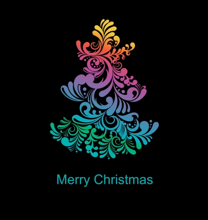 Stylized Christmas tree, abstract illustration   Vector
