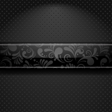 Abstract glossy banner with floral ornament over metallic textured background Vector