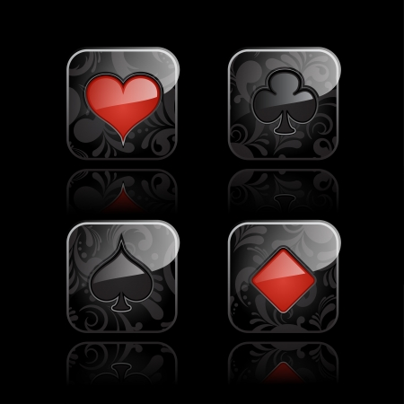 ace hearts: Set of casino elements - playing card symbols, glossy icons with floral ornate Illustration
