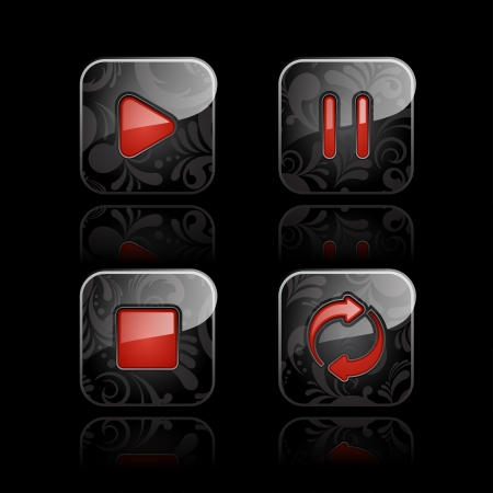 mp3 player: Set of glossy media player icons  set  1