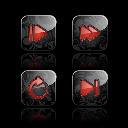 playback: Set of glossy media player icons  set  2  Illustration