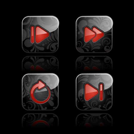 backwards: Set van glanzende media player icons set 2